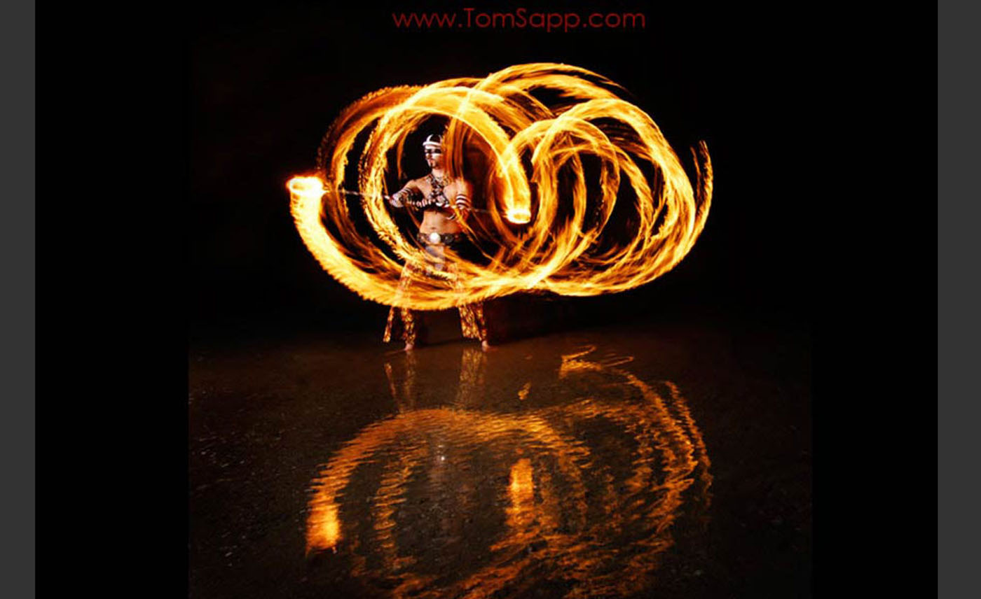 Fire throwing, artistic Night photography