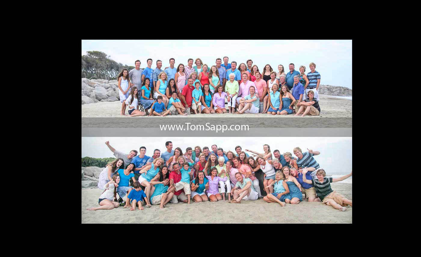 Family Reunion, Large Group Photography, Big group beach portrait